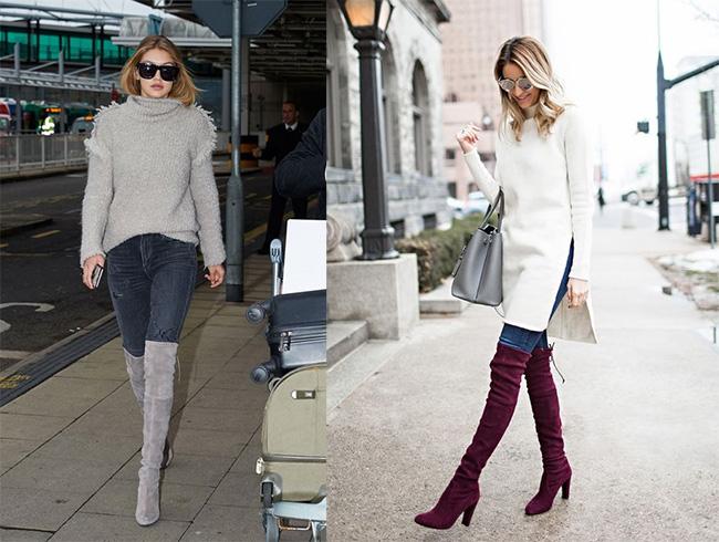 Jeans con botas altas