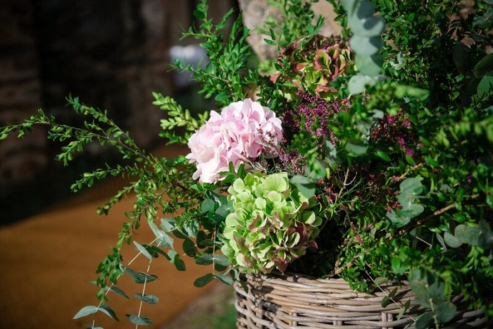 Decoración con hortensias