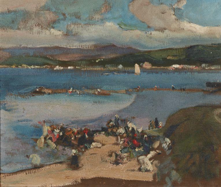 """Joaquín Sorolla. """"La ría de Villagarcía de Arosa"""" 1915, óleo sobre lienzo de 38x45,5 cm"""